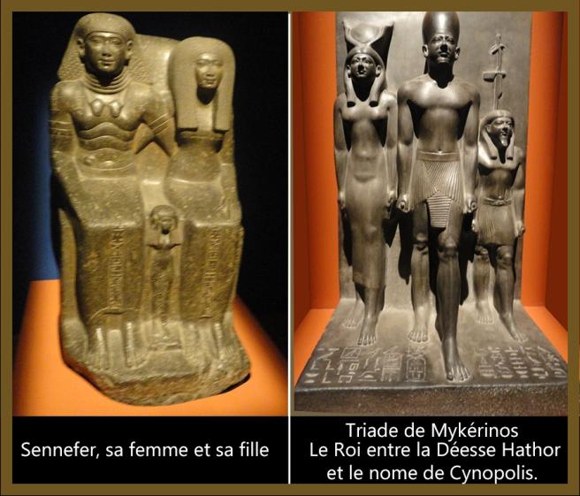 09-Triade de Mykérinos et Sennefer, sa femme et sa fille.