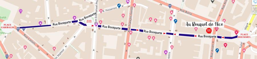 RUE BONAPARTE NICE AU BOUQUET DE NICE PLAN