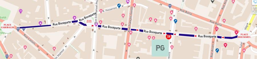 RUE BONAPARTE NICE PALAIS GOURMAND PLAN