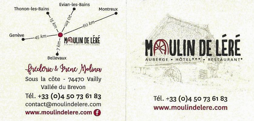 THONON Le Moulin de Léré Vailly service 1-2 carte de présentation